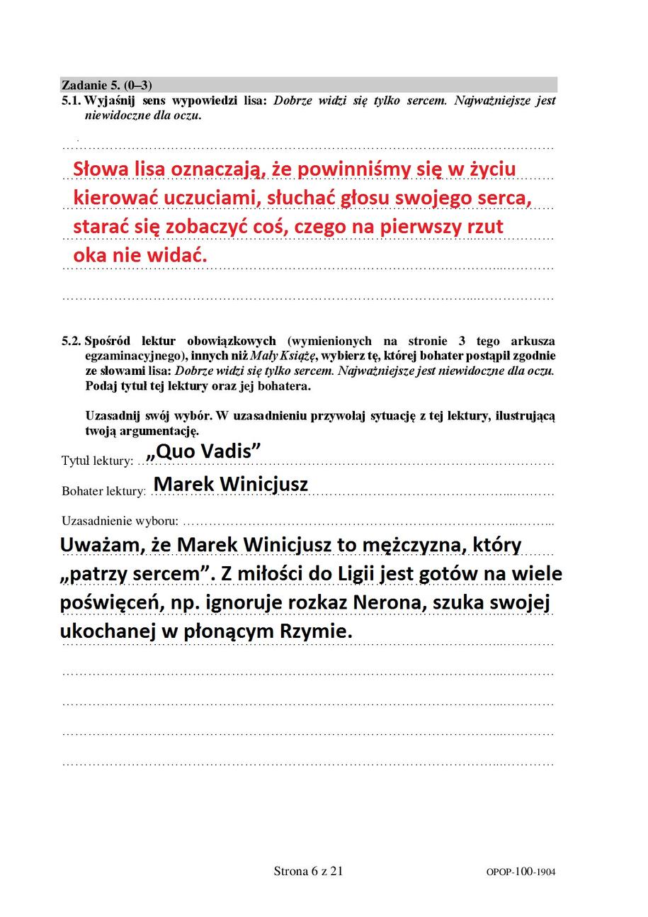Proponowane odpowiedzi - egzmian ósmoklasity, język polski /RMF FM