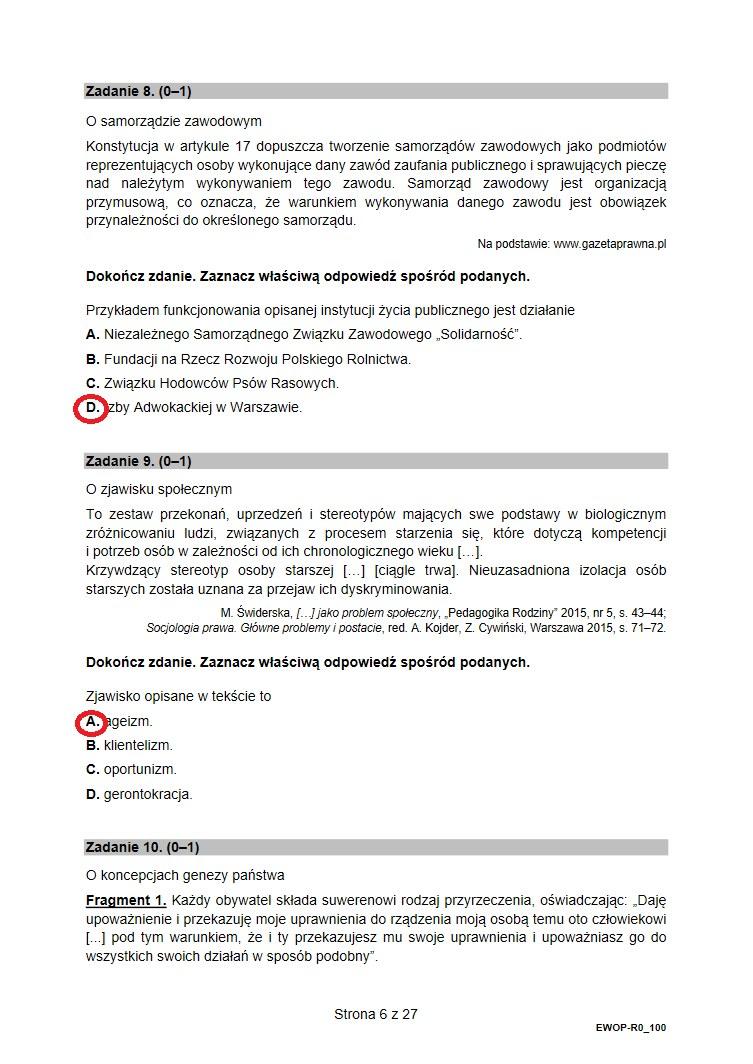 Proponowane odpowiedzi i arkusz CKE z WOSu /INTERIA.PL
