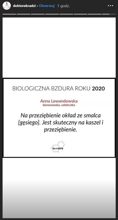 Propozycja nominacji dla Anny Lewandowskiej do Biologicznej Bzdury Roku /Instagram/@doktorekradzi /Instagram