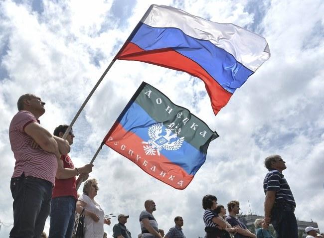 Prorosyjska demonstracja w Doniecku /PAP/EPA/VALENTINA SVISTUNOVA /PAP/EPA