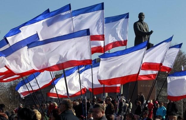 Prorosyjska demonstracja w Symferopolu na Krymie /PAP/EPA/YURI KOCHETKOV /PAP/EPA