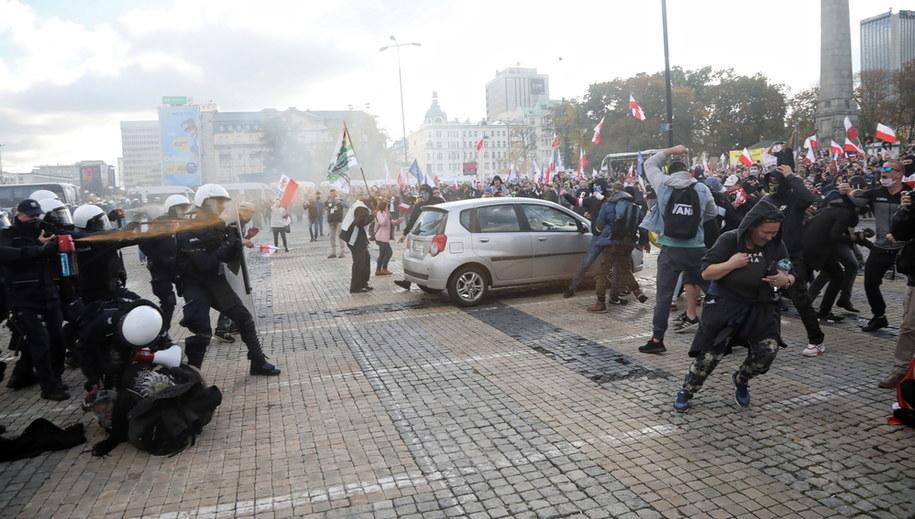 Protest antycovidowców /Wojciech Olkuśnik /PAP
