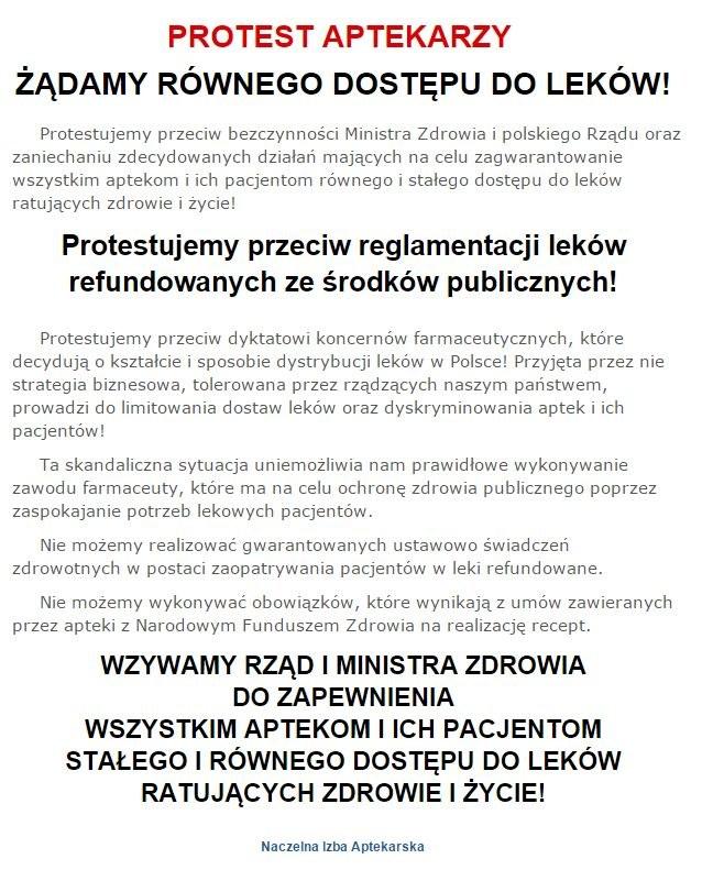 Protest aptekarzy na stronie http://nia.org.pl/ /INTERIA.PL