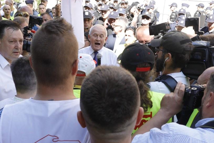 Protest górników przed Ministerstwem Energii /Grzegorz Banaszak /Reporter