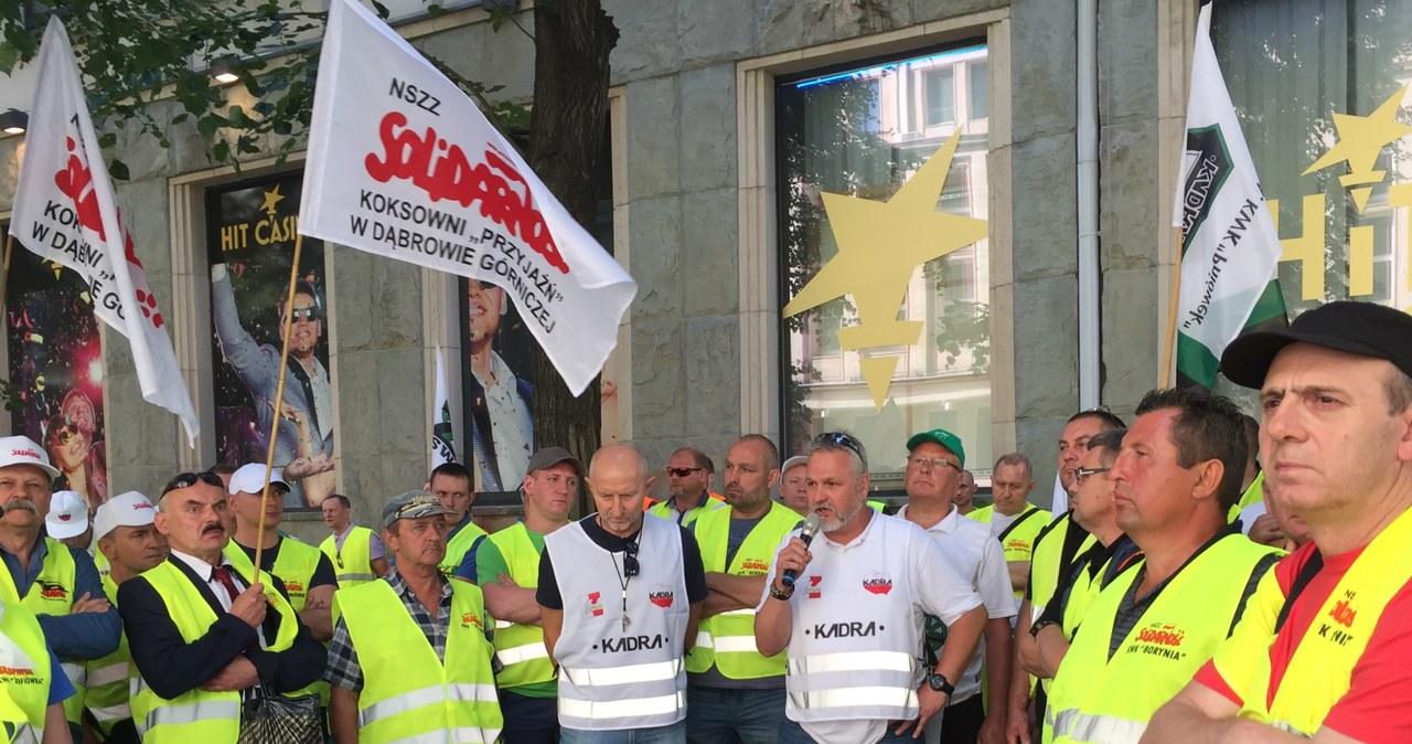 Protest górników z JSW w Warszawie