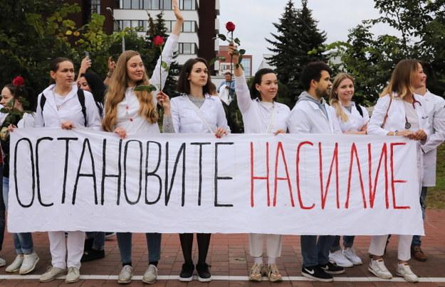 Protest medyków w Mińsku /YAUHEN YERCHAK /PAP/EPA