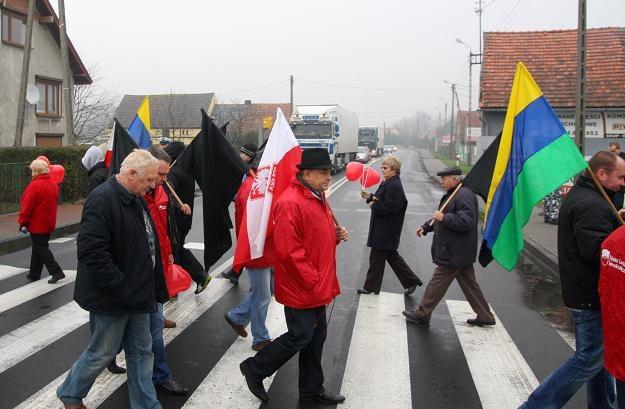 Protest na DK nr 46 w miejscowości Sosnówka/fot. Krzysztof Świderski /PAP