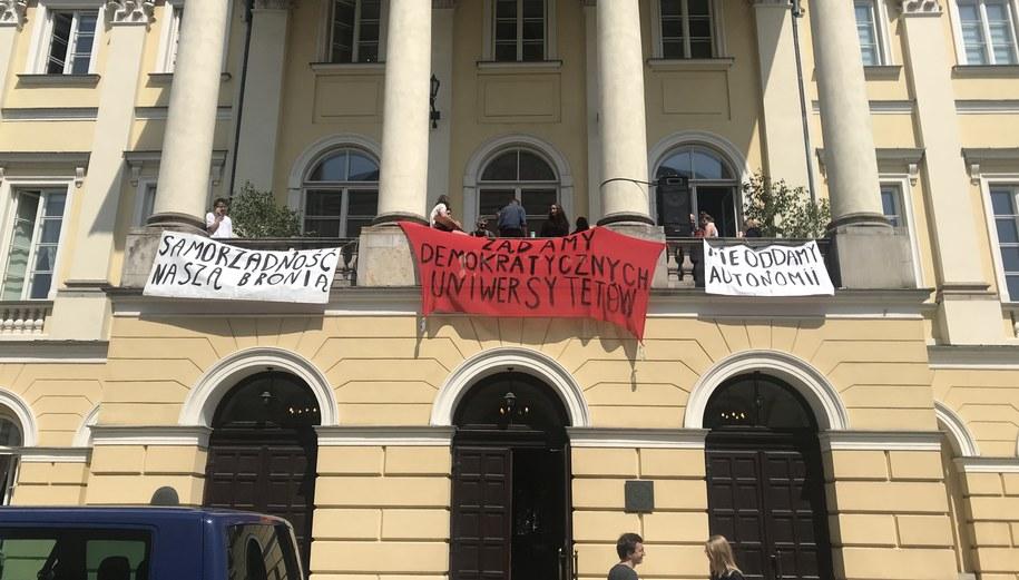 Protest na Uniwersytecie Warszawskim /Michał Dobrołowicz /RMF FM