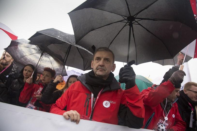 Protest nauczycieli; prezes ZNP Sławomir Broniarz /Maciej Łuczniewski /Reporter