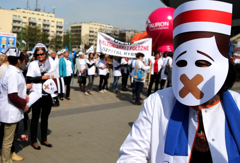 Protest pielęgniarek /Andrzej Grygiel /PAP