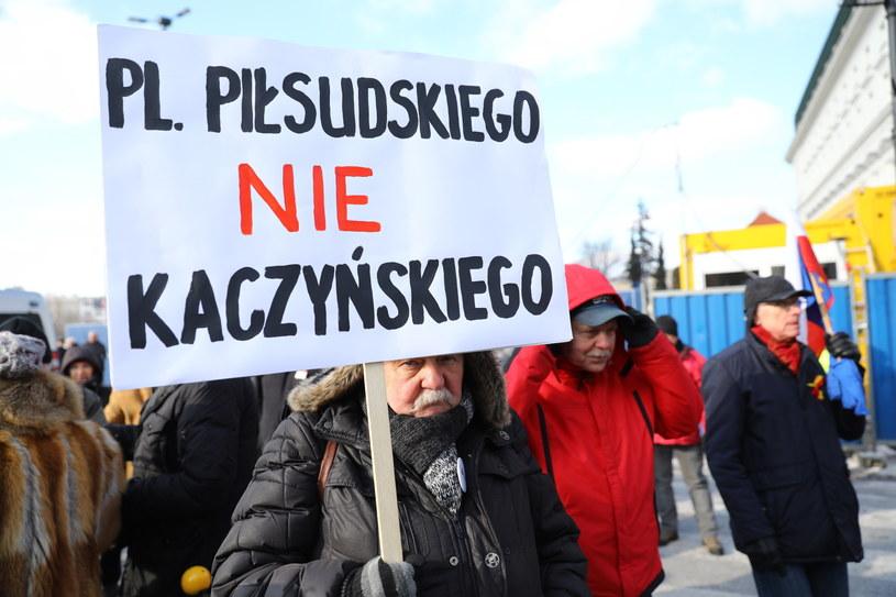 Protest przeciwko budowie pomnika smoleńskiego /PAP