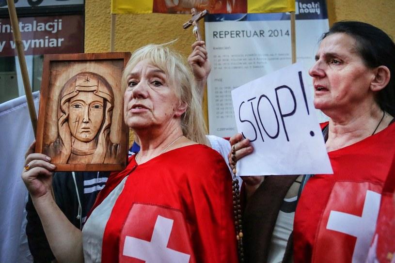 """Protest przeciwko """"Golgota Picnic"""" /Beata Zawrzel /Reporter"""