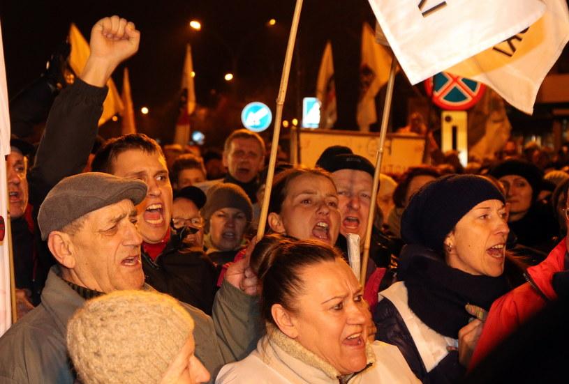 Protest przeciwko likwidacji KWK Brzeszcze /Grzegorz Momot /PAP