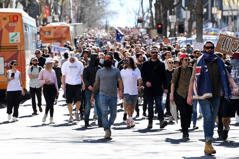 Protest przeciwko lockdownowi w Australii /PAP/EPA/JAMES ROSS /PAP
