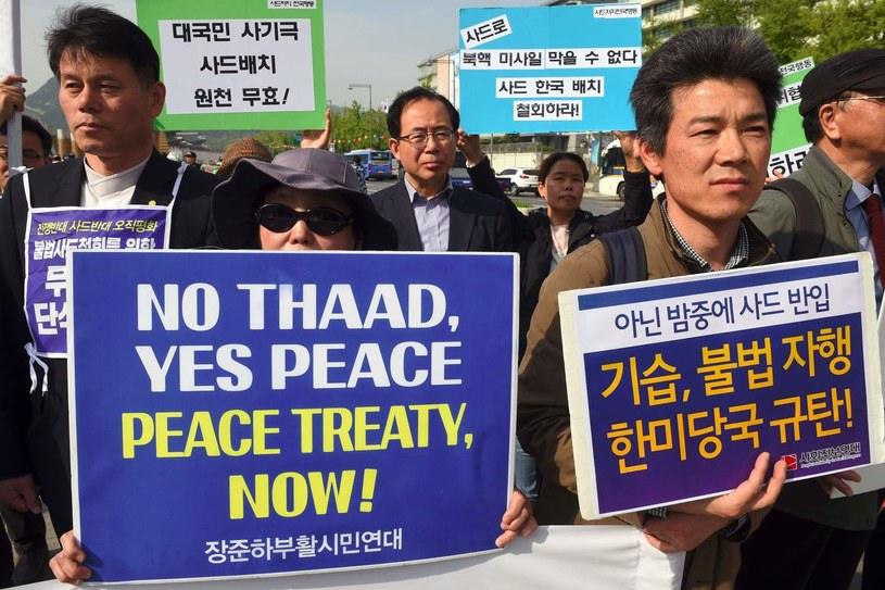 Protest przeciwko rozmieszczeniu amerykańskiego systemu obrony THAAD w Korei Płd. /AFP
