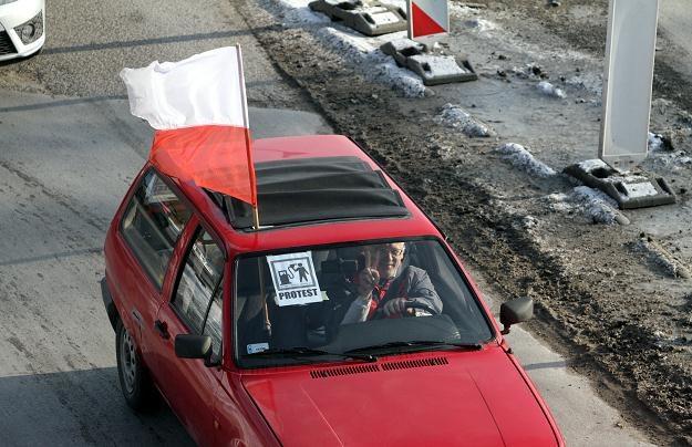 Protest przeciwko wysokim cenom paliw/fot. P. Polak /PAP