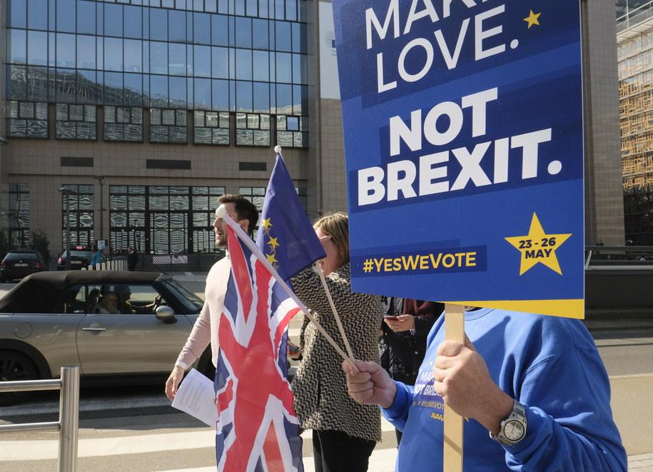 Protest przeciwników brexitu w Brukseli /OLIVIER HOSLET /PAP/EPA