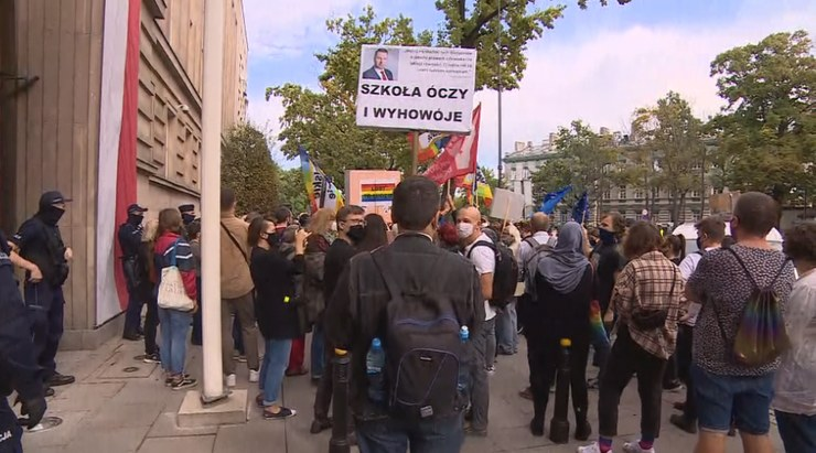 Protest przed siedzibą MEN /Polsat News