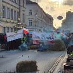 Protest przed siedzibą Polskiego Związku Łowieckiego. Policjanci siłą usunęli demonstrujących rolników