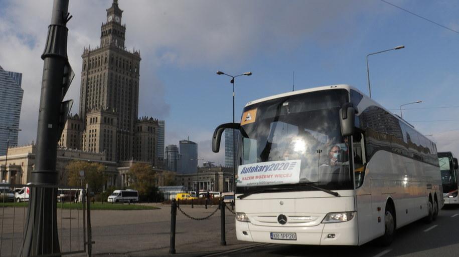 Protest przewoźników w Warszawie /Kuba Rutka /RMF FM