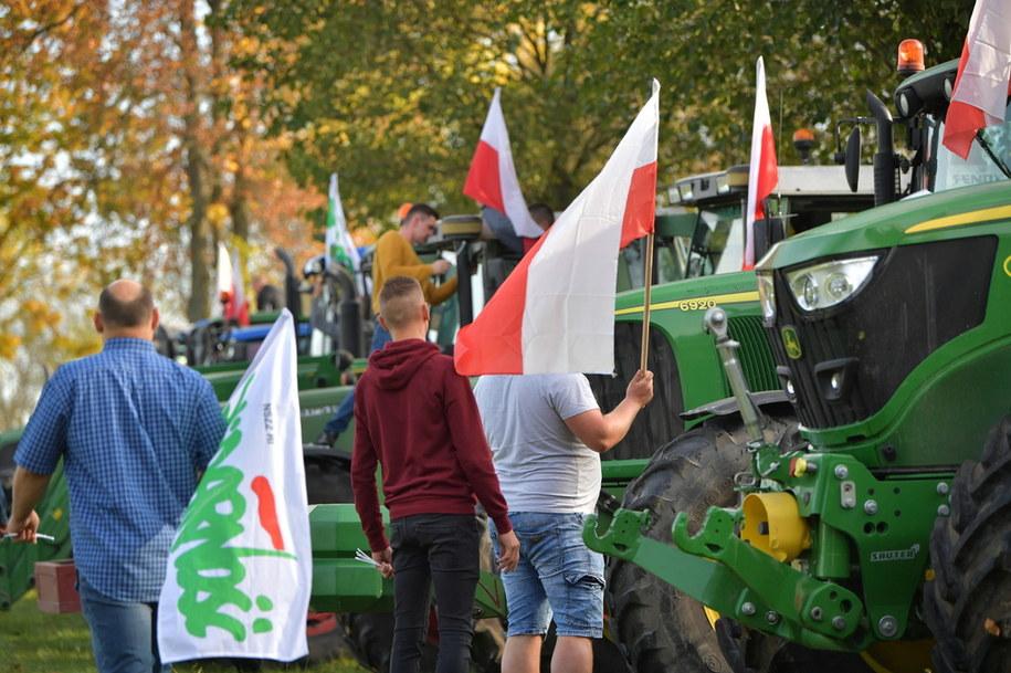 Protest rolników w Trzebuczy w województwie mazowieckim /PAP
