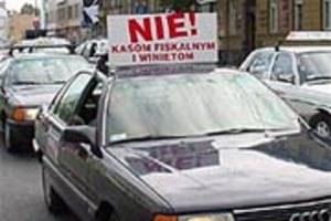 Protest taksówkarzy w Warszawie i Krakowie