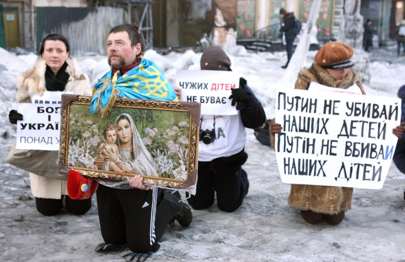Protest w Kijowie /PAP/EPA