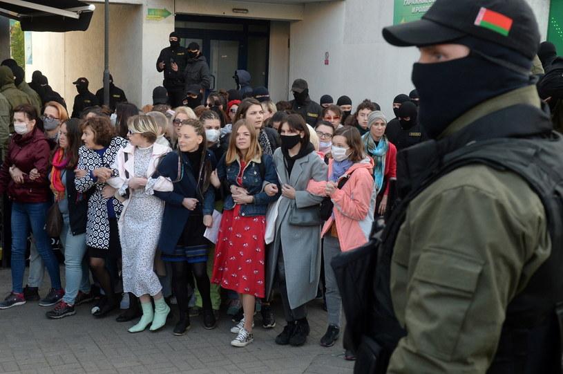 Protest w Mińsku /PAP/EPA