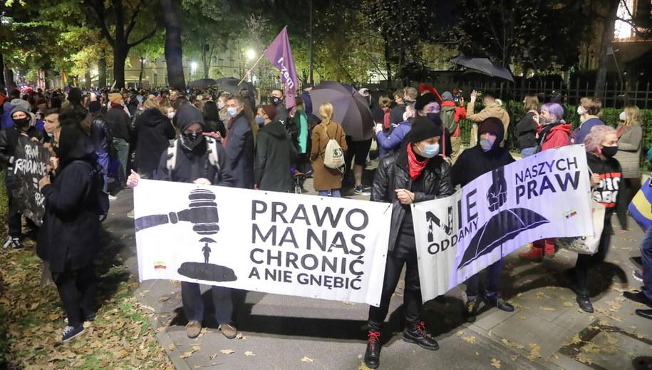 Protest w Warszawie /Wojciech Olkuśnik /PAP
