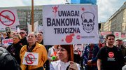 Protest zadłużonych we frankach w Warszawie