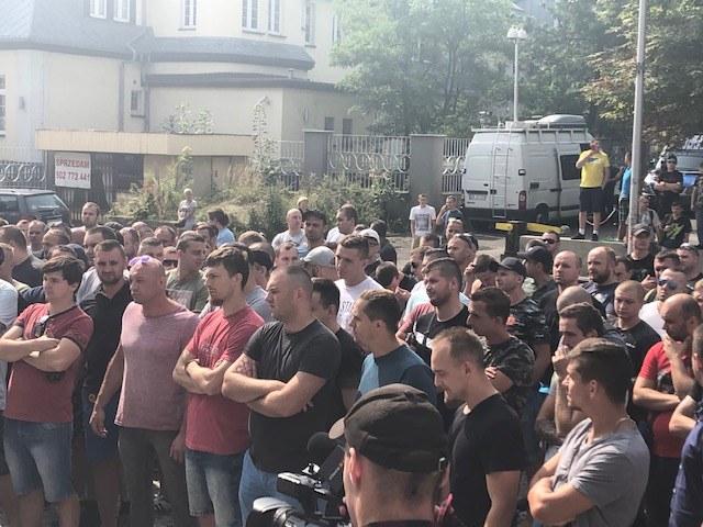 Protestujący górnicy w Katowicach /Anna Kropaczek /RMF FM