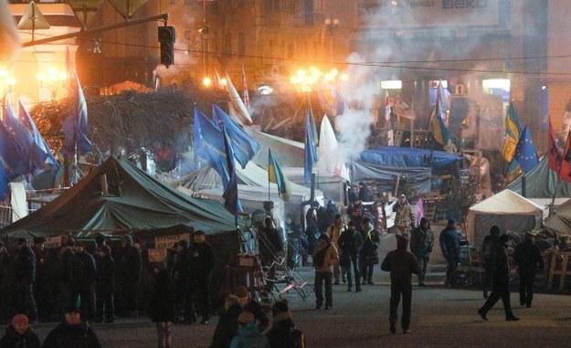 Protestujący na kijowskim Euromajdanie /PAP/EPA/SERGEY DOLZHENKO /PAP/EPA