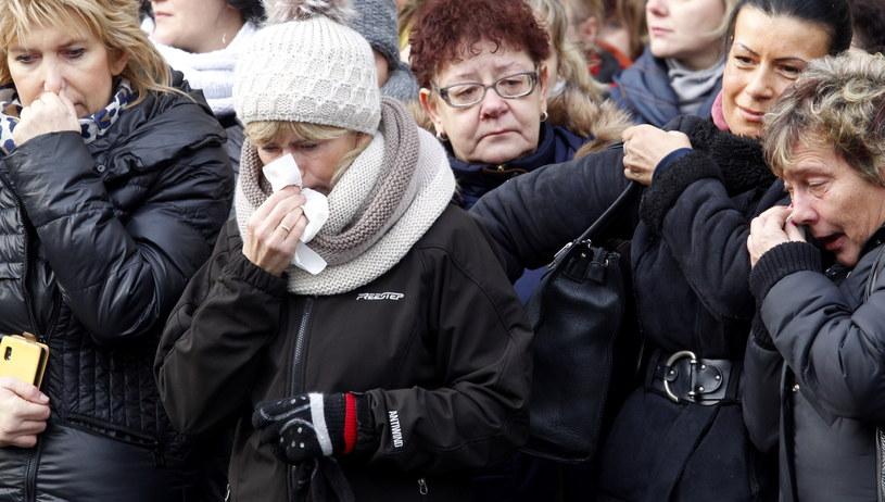 Protestujący pracownicy KWK Pokój w Rudzie Śląskiej /Andrzej Grygiel /PAP