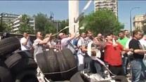 Protestujący taksówkarze przed Sejmem