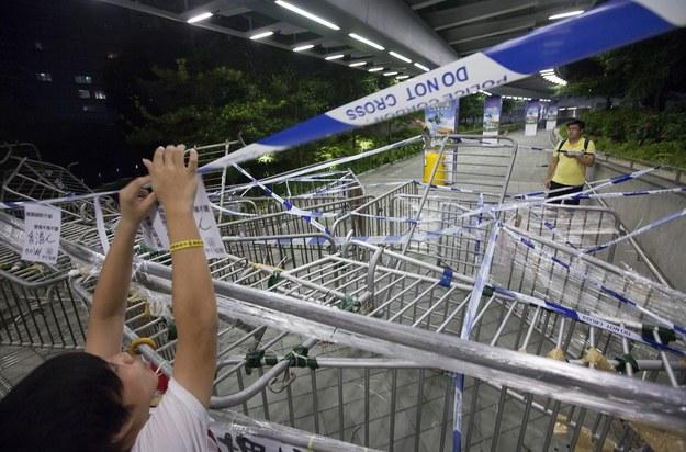 Protestujący w Hong Kong /ALEX HOFFORD /PAP/EPA