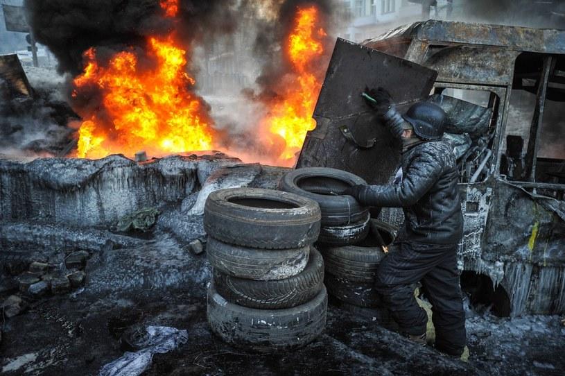 Protestujący w Kijowie /PAP/EPA