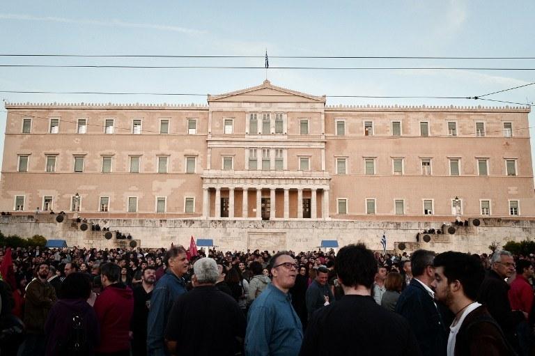 Protestujący w niedzielę a Atenach /LOUISA GOULIAMAKI / AFP /AFP