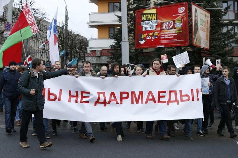 """Protesty na Białorusi: """"Nie jesteśmy pasożytami"""" /TATYANA ZENKOVICH  /PAP/EPA"""