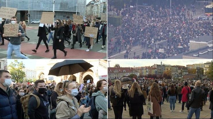 Protesty na ulicach dużych miast /Polsat News