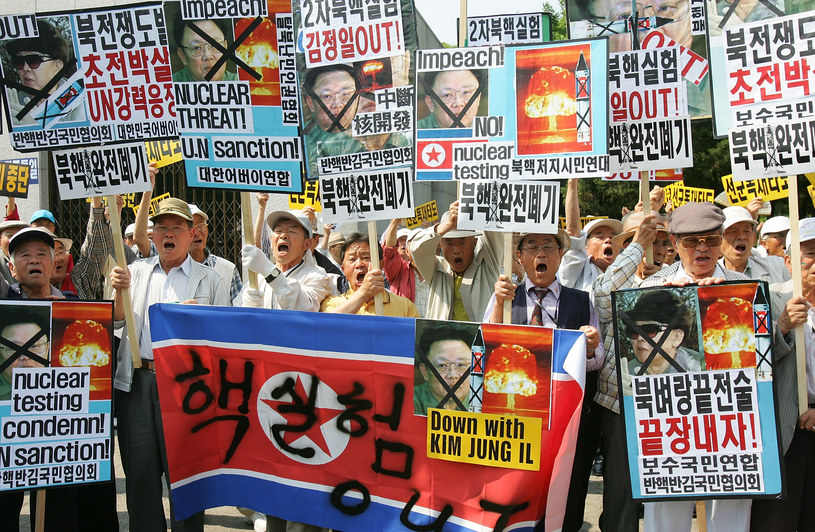 Protesty przeciwko testom nuklearnym Korei Północnej, zdj. archiwalne /Getty Images