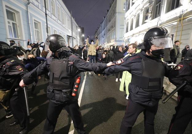 Protesty w obronie Nawalnego odbyły się w Moskwie i wielu innych rosyjskich miastach /Sergei Ilnitsky /PAP/EPA