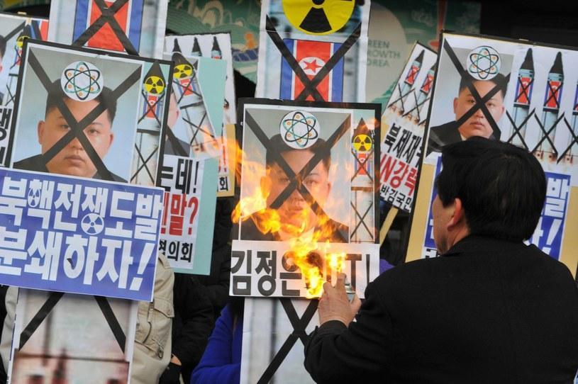Protesty w Seulu: Płonie portret Kima /AFP