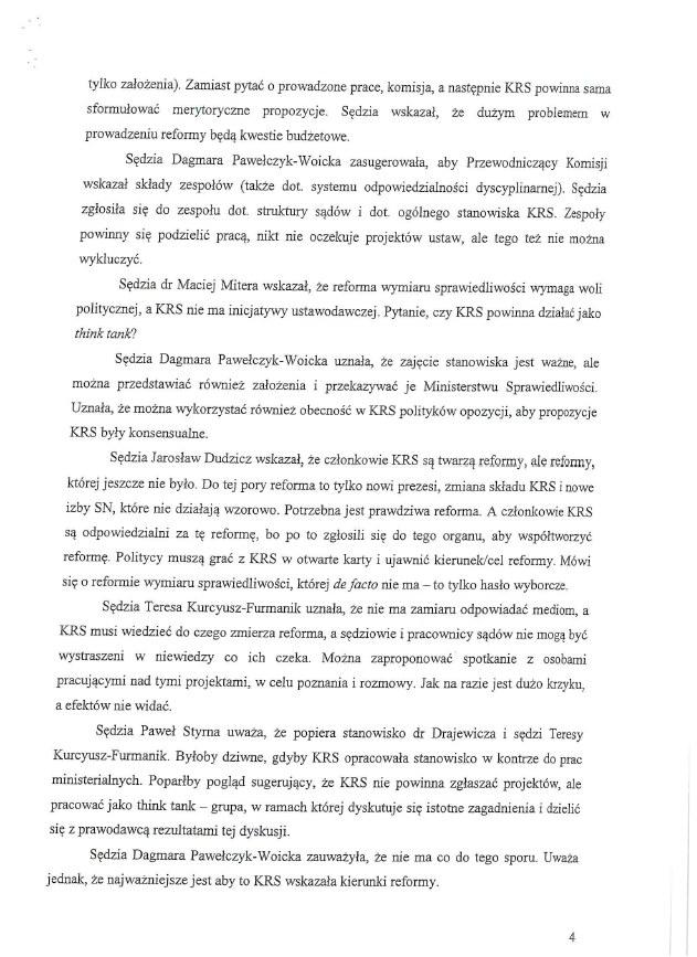 Protokół z posiedzenia Komisji Krajowej Rady Sądownictwa ds. reformy wymiaru sprawiedliwości z dnia 15 września 2020 roku /RMF FM
