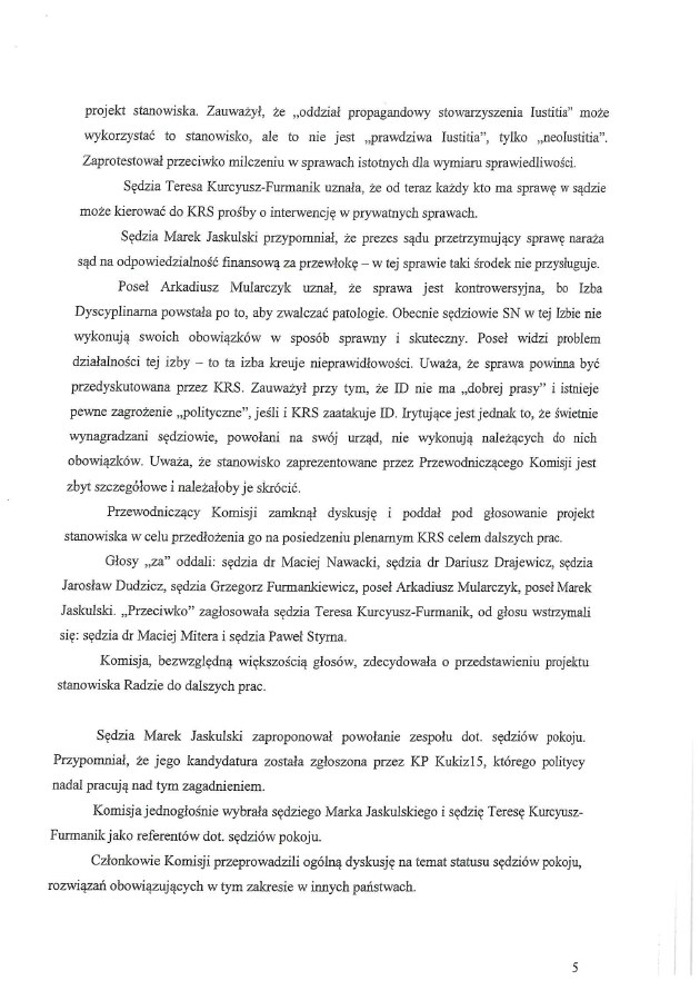 Protokół z posiedzenia Komisji Krajowej Rady Sądownictwa ds. reformy wymiaru sprawiedliwości z dnia 8 października 2020 roku /RMF FM