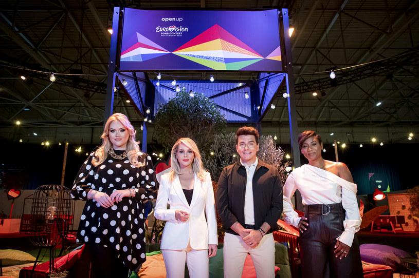 Prowadzący Eurowizję 2021 - od lewej: Nikkie de Jager, Chantal Janzen, Jan Smit i Edsilia Rombley /Patrick van Katwijk/BSR Agency/POOL /Getty Images