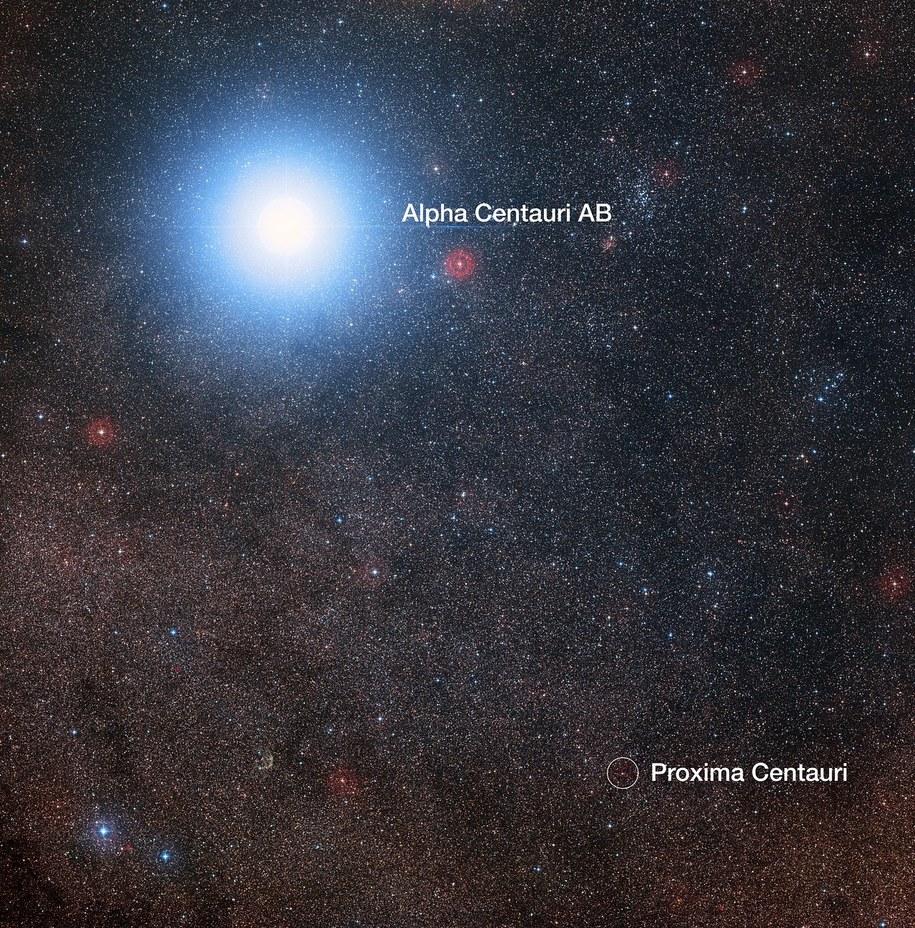 Proxima Centauri widoczna w pobliżu dużo jaśniejszej Alpha Centauri AB /Digitized Sky Survey 2; Davide De Martin/Mahdi Zamani /Materiały prasowe