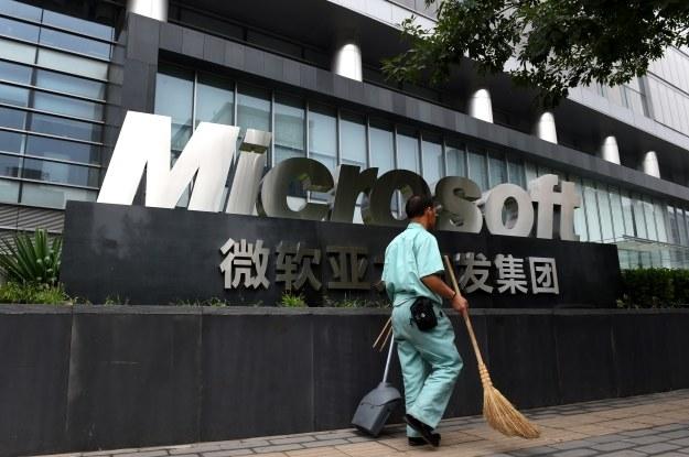 Prze biurami Microsoftu w Pekinie /AFP