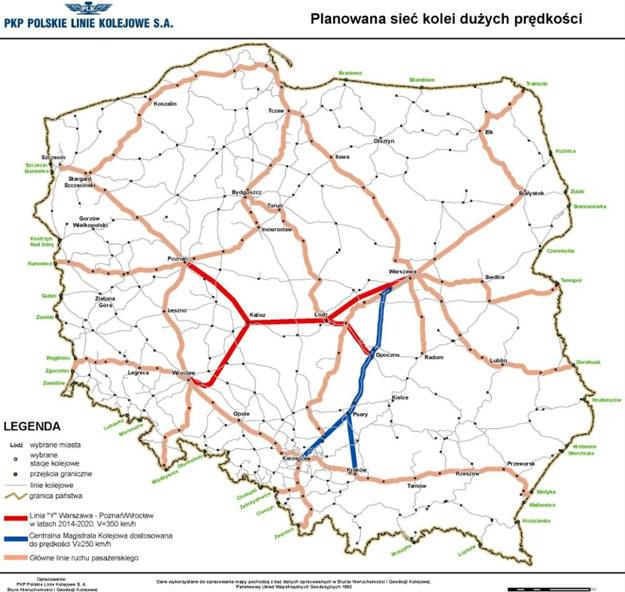 Przebieg linii Y według pierwotnych założeń (fot. PKP PLK) /wnp.pl - portal gospodarczy