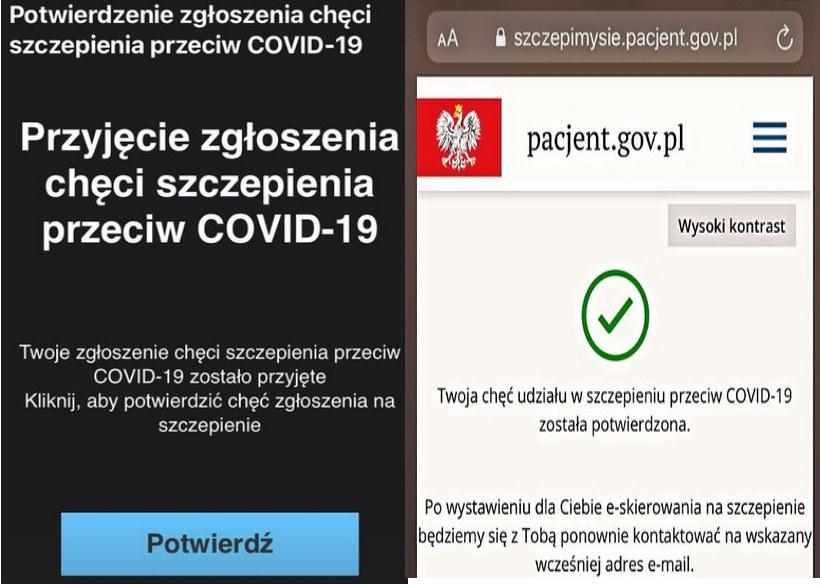 Przebieg procesu zgłoszenia do szczepień przez stronę https://szczepimysie.pacjent.gov.pl/ /