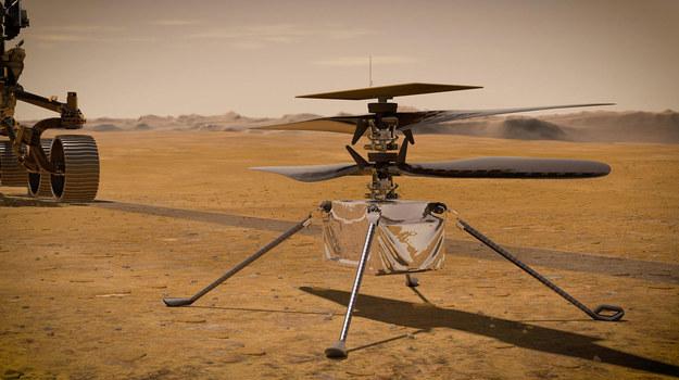 Przed testowymi lotami łazik Perseverance ma opuścić helikopterek Ingenuity na płaską powierzchnię i odjechać / NASA/JPL-Caltech /Materiały prasowe